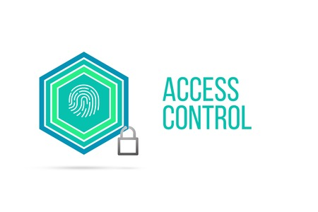 Access control concept image with pentagon shape shield and lock illustration and icon illustrating the concept inside. Best to visualize your words.