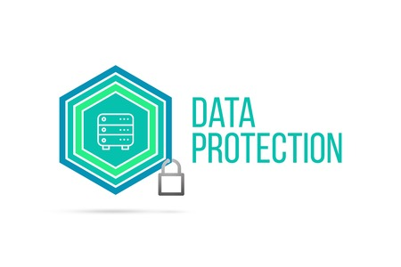 Data protection concept image with pentagon shape shield and lock illustration and icon illustrating the concept inside. Best to visualize your words. Standard-Bild