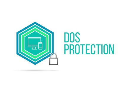 Dos Protection concept image with pentagon shape shield and lock illustration and icon illustrating the concept inside. Best to visualize your words. Standard-Bild