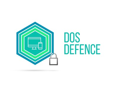 Dos Defence concept image with pentagon shape shield and lock illustration and icon illustrating the concept inside. Best to visualize your words.
