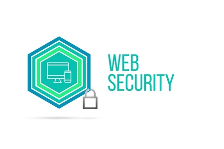 Web Security concept image with pentagon shape shield seal and lock illustration and icon illustrating the concept inside. Best to visualize your words.