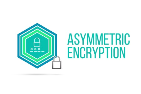 Asymmetric Encryption concept image with pentagon shape shield and lock illustration and icon illustrating the concept inside. Best to visualize your words.