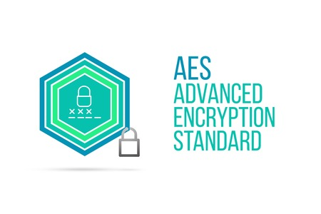 AES Advanced Encryption Standard concept image with pentagon shape shield and lock illustration and icon illustrating the concept inside. Best to visualize your words.