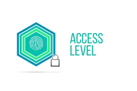 Access level concept image with pentagon shape shield and lock illustration and fingerprint icon illustrating the concept inside. Best to visualize your words. Standard-Bild