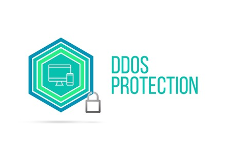 best protection: DDos Protection concept image with pentagon shape shield and lock illustration and icon illustrating the concept inside. Best to visualize your words. Stock Photo