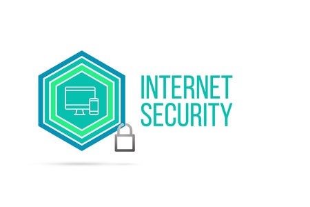 Internet security concept image with pentagon shape shield and lock illustration and computer smartphone icon illustrating the concept inside. Best to visualize your words.