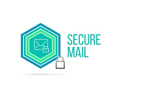 Secure mail concept image with pentagon shape shield and lock illustration and envelope icon illustrating the concept inside. Best to visualize your words.