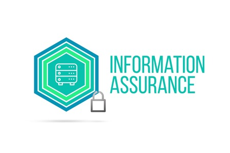 Information Assurance concept image with pentagon shape shield and lock illustration and icon illustrating the concept inside. Best to visualize your words. Standard-Bild