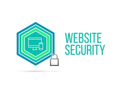 website words: Website security concept image with pentagon shape shield seal and lock illustration and icon illustrating the concept inside. Best to visualize your words. Stock Photo