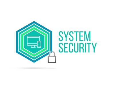 System security concept image with pentagon shape shield seal and lock illustration and icon illustrating the concept inside. Best to visualize your words.