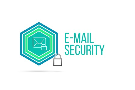 e-mail security concept image with pentagon shape shield and lock illustration and envelope icon illustrating the concept inside. Best to visualize your words.