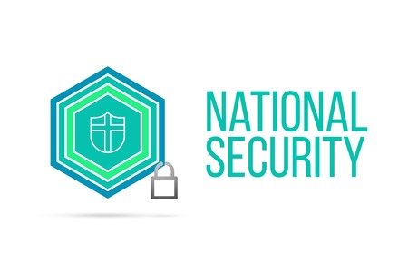 best security: National Security concept image with pentagon shape shield seal and lock illustration and icon illustrating the concept inside. Best to visualize your words. Stock Photo