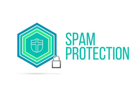 best protection: spam protection concept image with pentagon shape shield seal and lock illustration and icon illustrating the concept inside. Best to visualize your words.