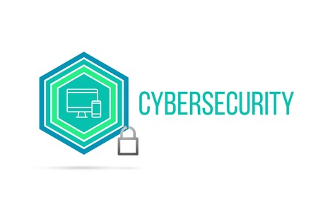 Cybersecurity concept image with pentagon shape shield and lock illustration and icon illustrating the concept inside. Best to visualize your words.