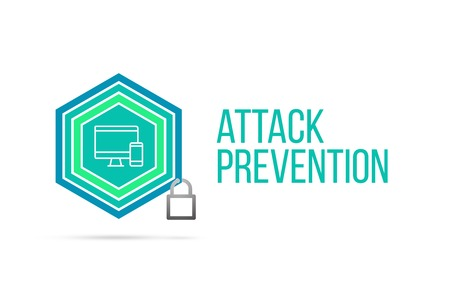 Attack prevention concept image with pentagon shape shield and lock illustration and computer with smartphone icon illustrating the concept inside. Best to visualize your words.