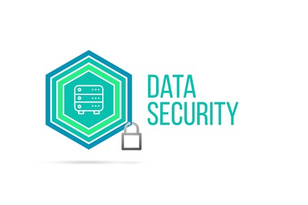 Data security concept image with pentagon shape shield and lock illustration and icon illustrating the concept inside. Best to visualize your words.