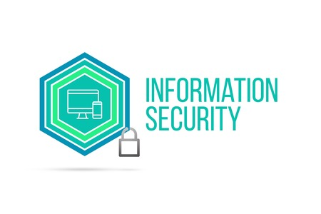 Information security concept image with pentagon shape shield and lock illustration and icon illustrating the concept inside. Best to visualize your words.