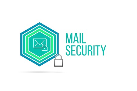 mail security concept image with pentagon shape shield and lock illustration and envelope icon illustrating the concept inside. Best to visualize your words.