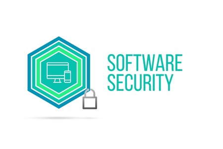 software security concept image with pentagon shape shield seal and lock illustration and icon illustrating the concept inside. Best to visualize your words.