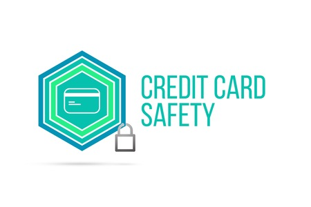 Credit card safety concept image with pentagon shape shield and lock illustration and icon illustrating the concept inside. Best to visualize your words.