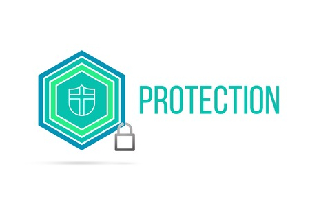 Protection concept image with pentagon shape shield seal and lock illustration and icon illustrating the concept inside. Best to visualize your words.