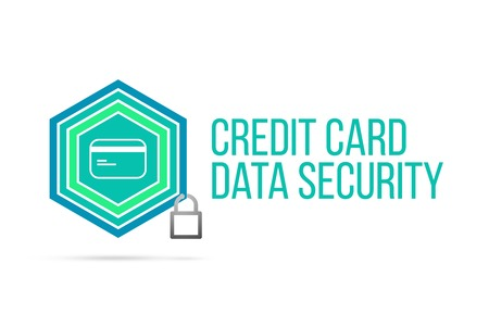 Credit card data security concept image with pentagon shape shield and lock illustration and icon illustrating the concept inside. Best to visualize your words.