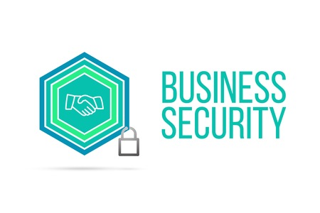 Business Security concept image with pentagon shape shield and lock illustration and business handshake icon illustrating the concept inside. Best to visualize your words.
