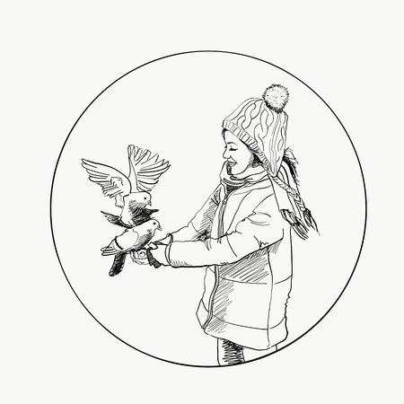 Beautiful young girl and bird. Winter. Hand drawn vector illustration.