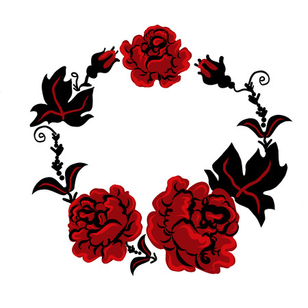 three red roses in a bouquet in Ukrainian style Illustration