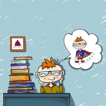 little boy red hair dreams behind a pile of books.