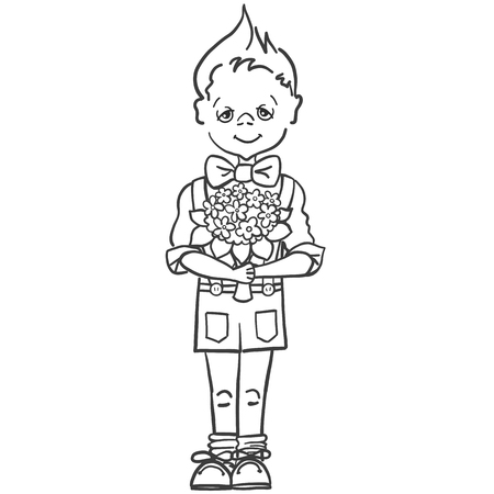 Drawing of a little boy in a butterfly and shorts with suspenders with a bouquet of flowers to his teacher at school, to mam, to girl. Ilustração