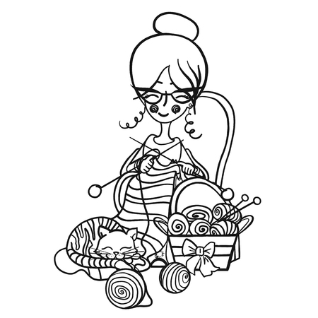 Happy cute smiling Granny woman with glasses sits in a Chair and knits knitting needles striped, cat sleeps on her knitting around the scattered balls, monochrome draw cartoon character.