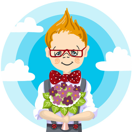 A 1st school day, september education, color hand paint draw of smile school boy red glasses who take a bouquet flowers to his teacher at school Illustration