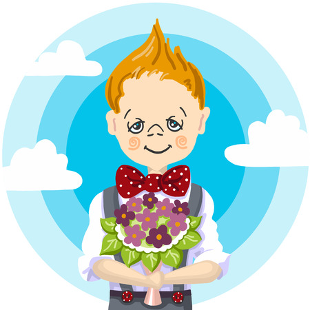 1st September, school day education, smile school boy blond hair. Who take a bouquet flowers to teacher, to mam, to girl, blue sky with white cloud background. Ilustração