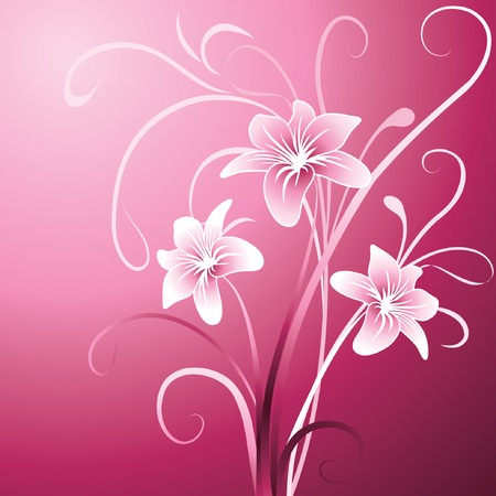 Floral background with pink lily Vector