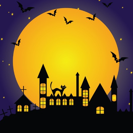 crawly: Halloween background with moon and bat Illustration