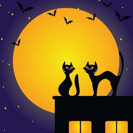 Halloween background with cat and bat Vector