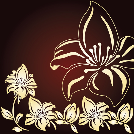 Vintage floral background with lily Stock Vector - 8020192