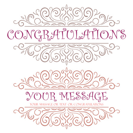 Vector vintage card with floral ornament design. Congratulations card Vector