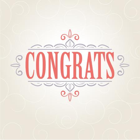 felicitaciones: Tarjeta de la vendimia del vector con el dise�o del ornamento floral. Tarjeta de la enhorabuena Vectores