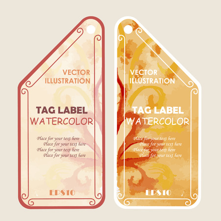 Watercolor tags label with text. Vector illustration. Vector