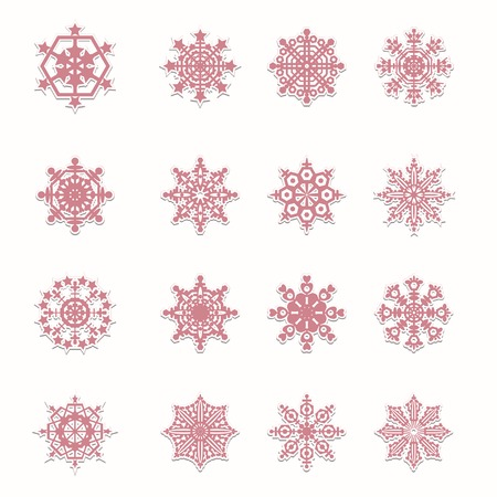 Set of 16 Christmas snowflakes. Vector illustration Vector
