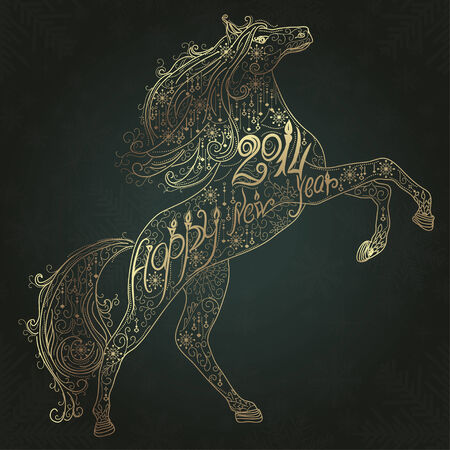 calligraphic design: Christmas lace card with gold horse silhouette
