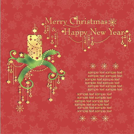 mantel: Merry Christmas and Happy New Year card. Vector illustration.