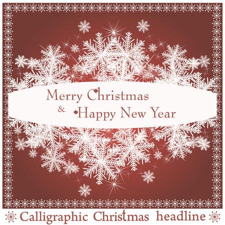 spruse: Christmas headlines on red background. Illustration