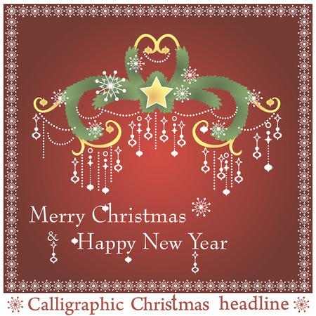 spruse: Christmas headlines on red background. Vector illustration. Illustration