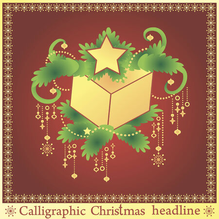 spruse: Beautiful Christmas present on the spruse. Vector illustration. Illustration