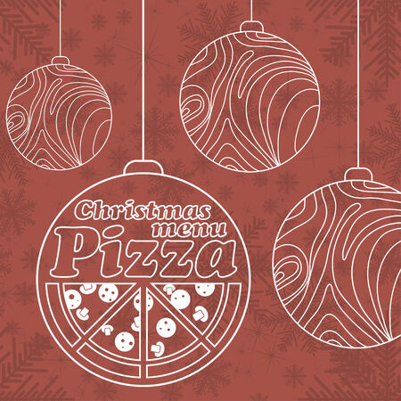 Abstract vector Christmas menu for Pizza background