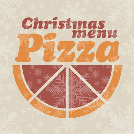 Abstract vector Christmas menu for Pizza background Vector