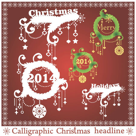 spruse: Set of Christmas headlines on red background. Vector illustration. Illustration